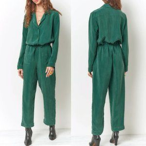 Anthro Corey Lynn Calter green silk jumpsuit L